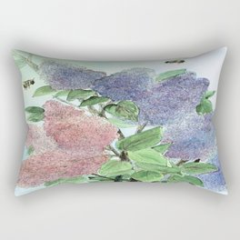 Lilacs and Bees Watercolor Painting Rectangular Pillow