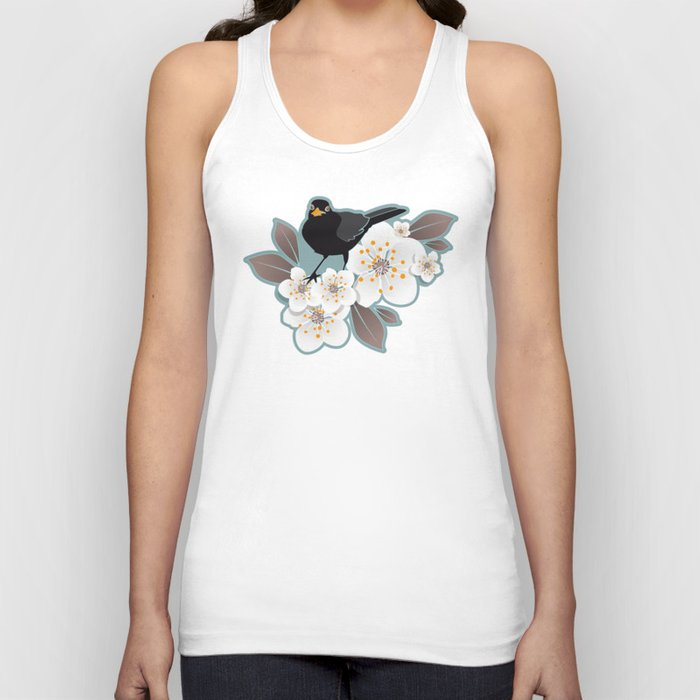 Waiting for the cherries I // Blackbirds blue background Unisex Tanktop