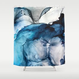 White Sand Blue Sea - Alcohol Ink Painting Shower Curtain
