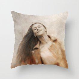 Woman smile Throw Pillow