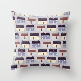 Houses Village Vector Pattern Repeat Seamless Background Throw Pillow