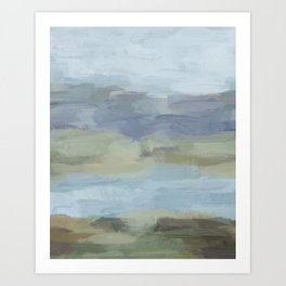 Sky Gray Blue Sage Green Abstract Wall Art, Painting Art, Lake Nature Painting Print, Modern Art Print