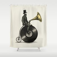 tyler spangler Shower Curtains featuring Music Man by Eric Fan
