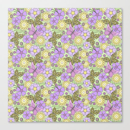 Bright floral pattern with butterflies. Canvas Print