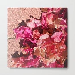 Red Flowers on Red Brick Sidewalk Metal Print