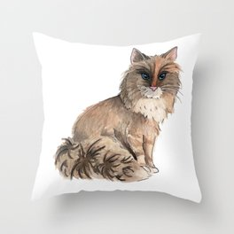 Fluffy Cat Watercolor Painting Throw Pillow