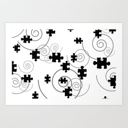 Puzze Spirals black and white Art Print