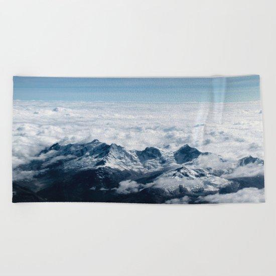 High Mountains #clouds Beach Towel