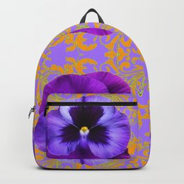 FOUR  PURPLE PANSIES ON LILAC  BROCADE GARDEN Backpack