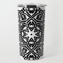Celtic Knot Ornament Pattern Black and White Travel Mug