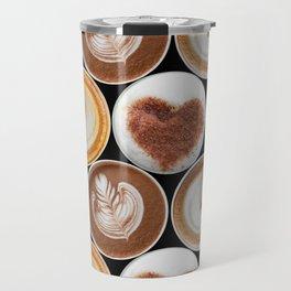Latte Polka Dots in Black Travel Mug