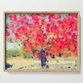 Orange Tree Watercolor digital Serving Tray