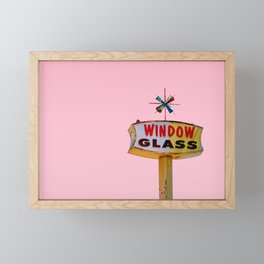 Atomic Pink Starburst - Vintage Googie-Style Sign with Pink Background Framed Mini Art Print