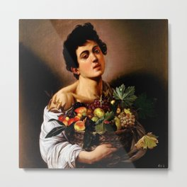 Michelangelo Merisi Da Caravaggio Boy With A Basket Of Fruit Metal Print