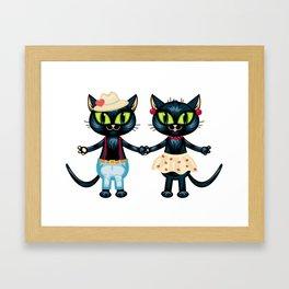 Cat's romance Framed Art Print