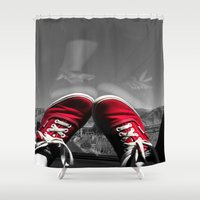 vans Shower Curtains featuring Shoes Reflection by Madison Walters