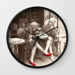 New Red Shoes Vintage Paris Photo Wall Clock