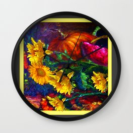 Sunflowers & fruit Fall Still Life Painting Wall Clock
