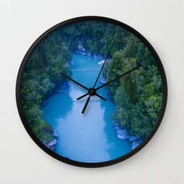 george river blue crazy vertical drone shot over bridge in new zealand Wall Clock