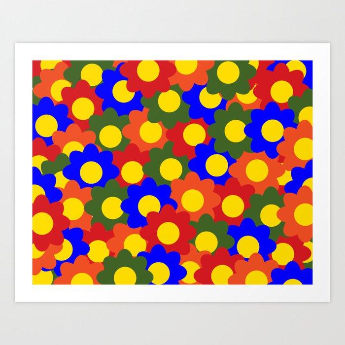 Colorful Flowers Red Blue Green Orange Art Print