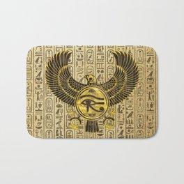 Egyptian Eye of Horus - Wadjet Gold and Wood Bath Mat