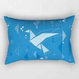 Origami birds in blue Rectangular Pillow