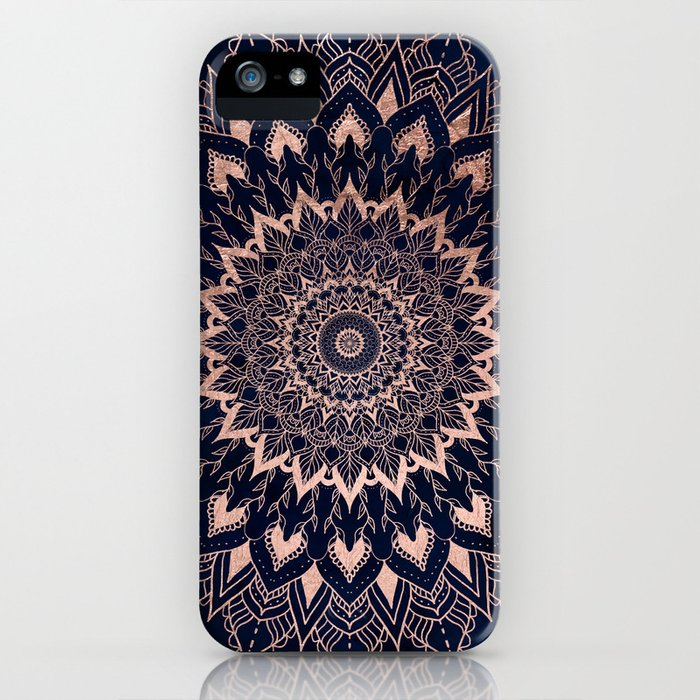 boho rose gold floral mandala on navy blue watercolor iphone case