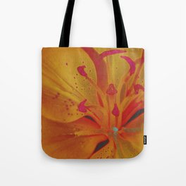 Yellow Lily Up Close Solarized Colors #3 Tote Bag