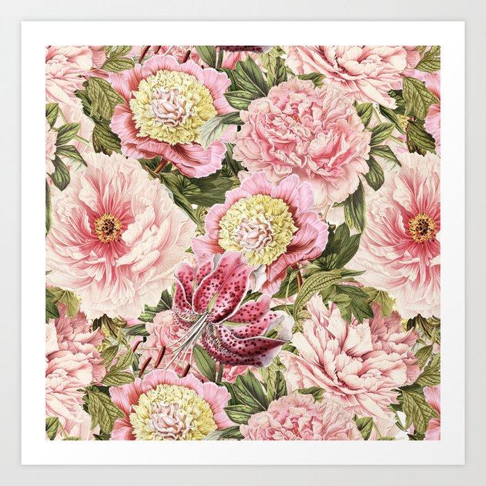 Vintage & Shabby Chic Floral Peony & Lily Flowers Watercolor Pattern Kunstdrucke
