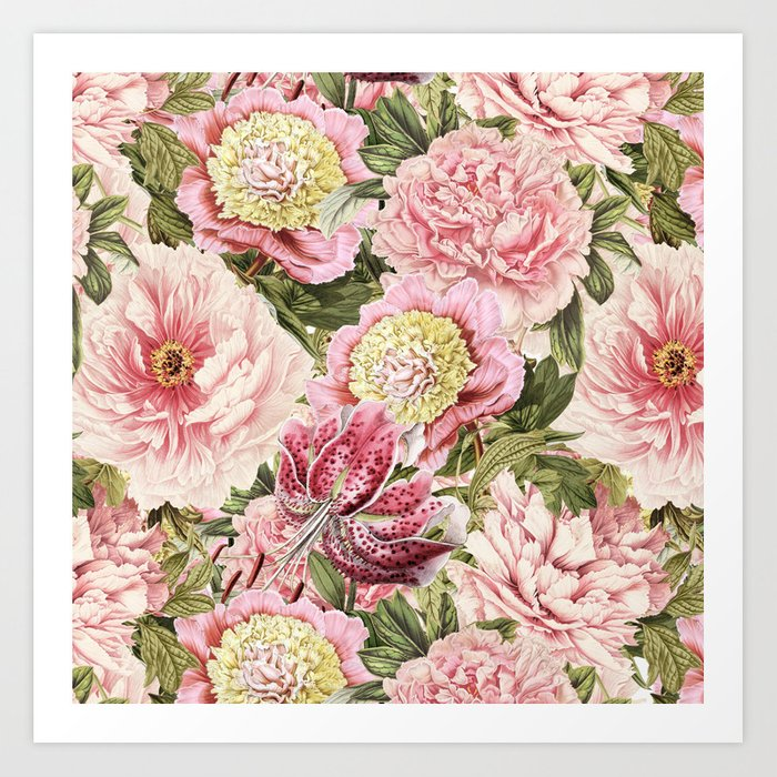 Vintage Shabby Chic Floral Peony Lily Flowers Watercolor Pattern Art Print