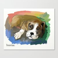boxer Canvas Prints featuring Boxer by Michelle Behar