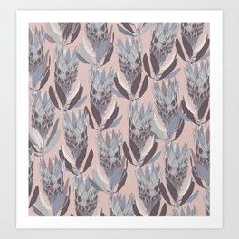 Purple protea pattern Art Print
