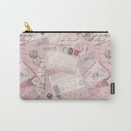 Nostalgic Letter and Postcard Collage Soft Pink Carry-All Pouch