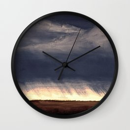 Storm Over Saskatchewan Fields Wall Clock