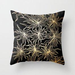 gold anemone Throw Pillow