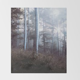 Forest Trees Sunrise Throw Blanket