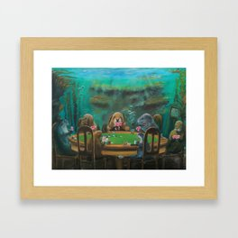 Pinnipeds Playing Poker Framed Art Print