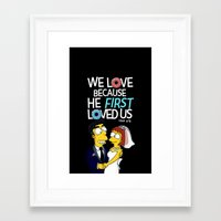 simpson Framed Art Prints featuring Simpson love by LOVEcm