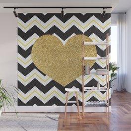 Golden Glittery Heart Wall Mural