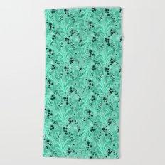 Elegant Flowers & Leaves Pattern Beach Towel