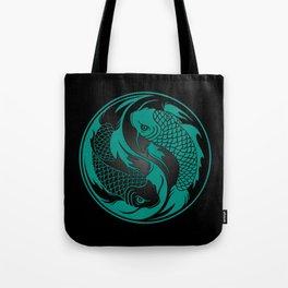 Teal Blue and Black Yin Yang Koi Fish Tote Bag