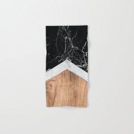 Arrows - Black Granite, White Marble & Wood #366 Hand & Bath Towel