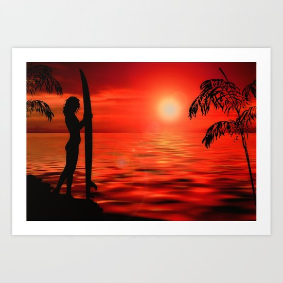 Surfer Sunset Art Print