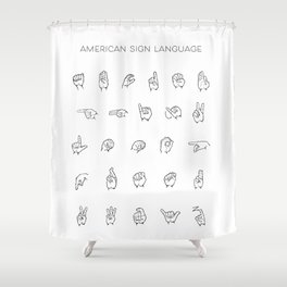 American Sign Language Chart Shower Curtain