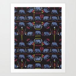 Patterned elephants  Art Print