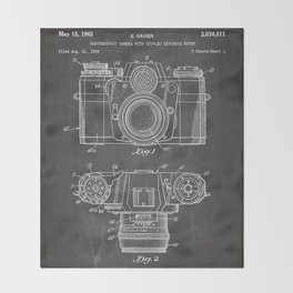 Camera Patent - Photography Art - Black Chalkboard Throw Blanket