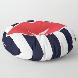 Red Lips with Stripes Floor Pillow