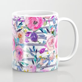 Pink mauve lilac hand painted watercolor roses floral stripes Coffee Mug