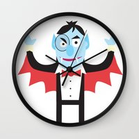 dracula Wall Clocks featuring Dracula by Joe Pugilist Design