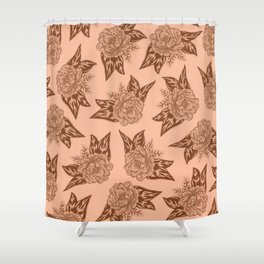 Cabbage Roses in Rust Shower Curtain